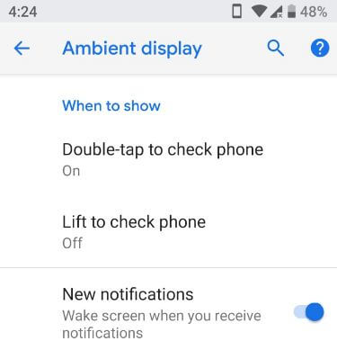 Android P ambient display feature