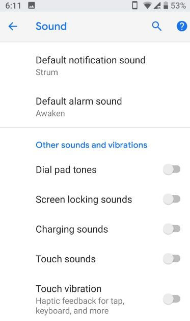 How to turn off vibration android P 9 0