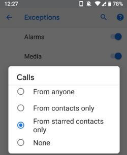 Android P starred contacts in DND
