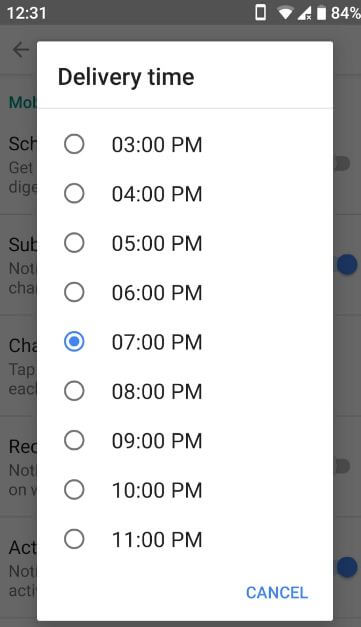 Automatically enable schedule digest in YouTube app android