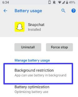 Background restriction in android P 9.0