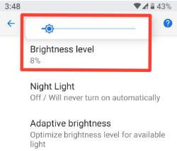 Change screen brightness in android P