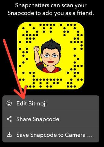 Edit Bitmoji in Snapchat android Smartphone