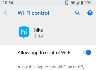 How to disable app to control Wi-Fi in android P 9.0
