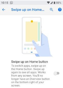 How to enable Gesture navigation controls android P
