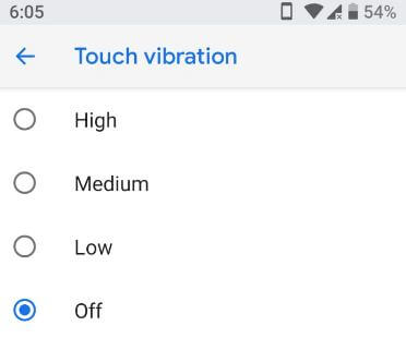 How to turn off vibration android P 9.0