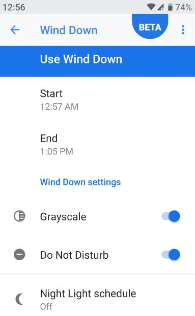 How to use Wind Down Android Pie 9