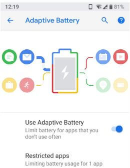 How to use adaptive battery in android P 9.0