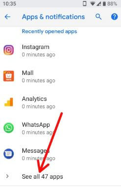 See all apps in your android P apps & notification settings