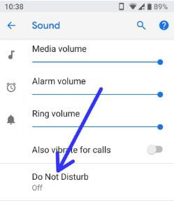 Turn off Do Not Disturb in android P 9.0
