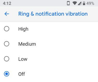 Turn off vibration in android P 9.0