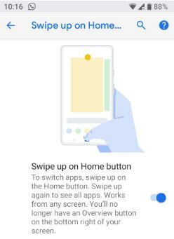 Turn on Swipe up on home button gesture in android P