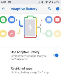 Use Adaptive battery in android P OS
