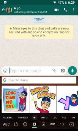 Use Bitmoji in android keyboard