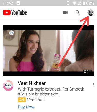 YouTube profile symbol in android devices