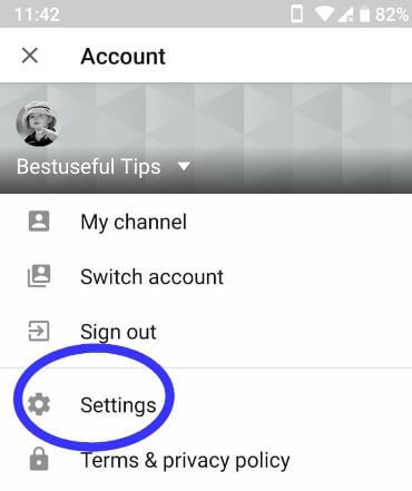 YouTube settings in android