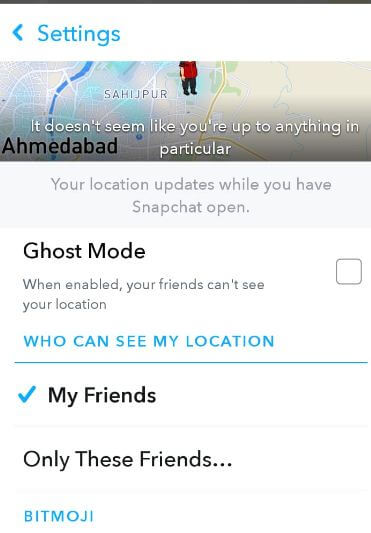 Hide your location on Snap Map android phone