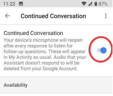 How to enable continue conversations for Google assistant in android
