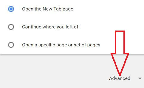Advanced settings in chrome browser