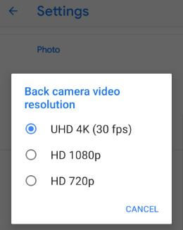 Camera video resolutions on Pixel 3