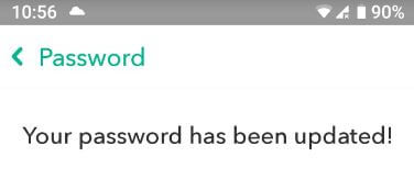 Password reset on Snapchat android