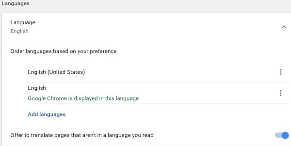 Turn off Google translate in Chrome browsers