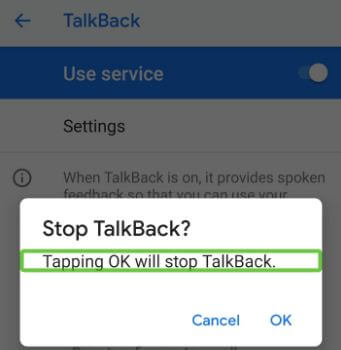 Turn off talkback in android P 9.0