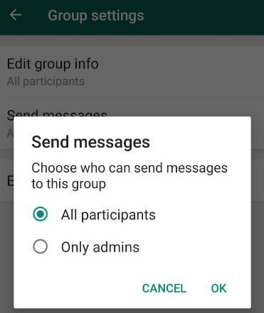 WhatsApp group admins restrict members from sending messages