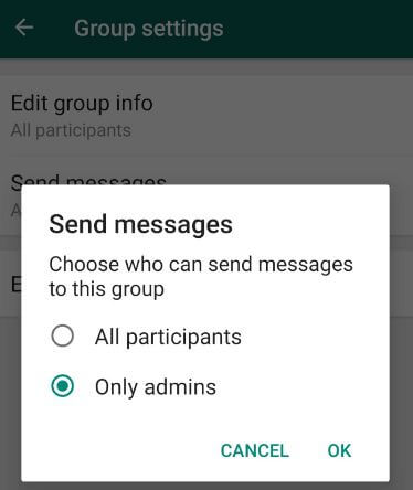 WhatsApp group admins restrict sending messages android