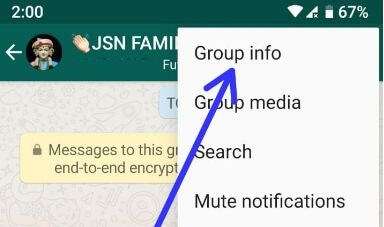 WhatsApp group info settings in android
