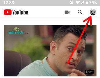 YouTube profile icon to activate YouTube's incognito mode
