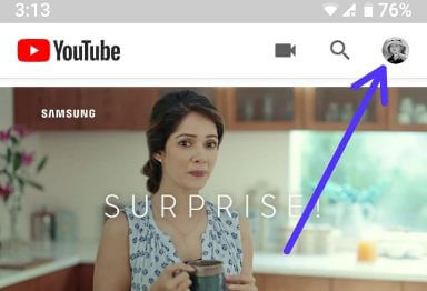 YouTube profile picture in android phone