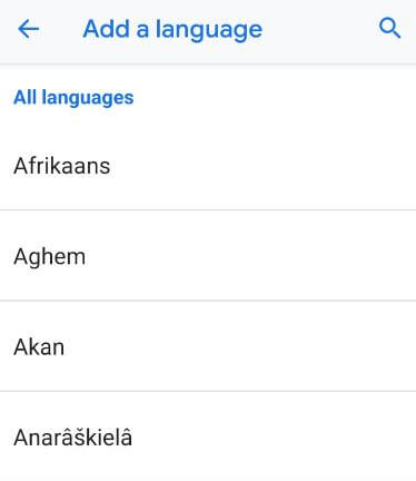 Add a language on android 9 Pie