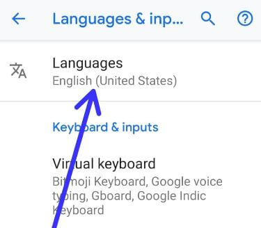 Android 9 Pie language and input settings