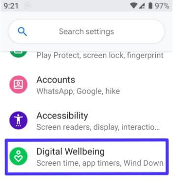 Android Pie Digital wellbeing settings