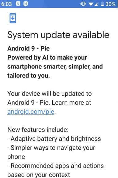Android Pie system update available