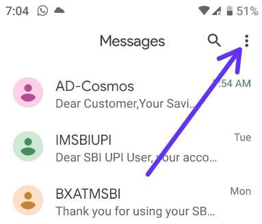 Android messages app settings for Pixel Pie