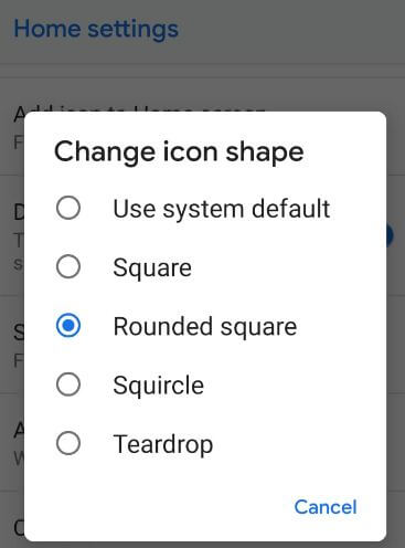 Change android Pie icon shape