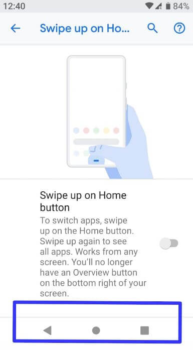 Enable android Pie's gesture navigation