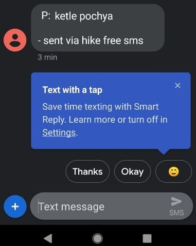 Enable smart reply in android message