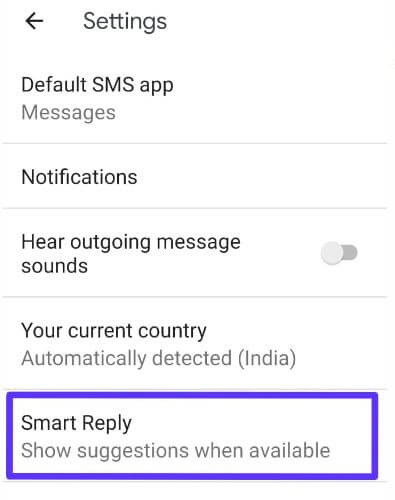 Use smart reply in android messages app