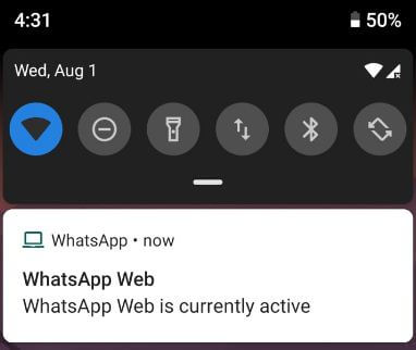 WhatsApp web is currently active