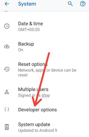 Android 9 Pie developer mode settings