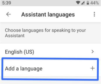 Change language of Google Assistant android Pie