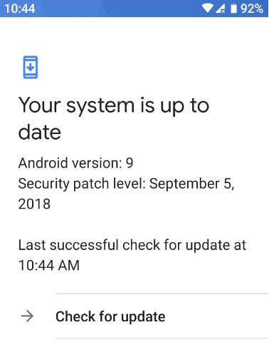 Check for system software update android Pie 9