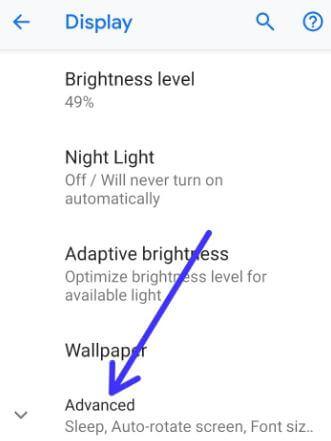 Google Pixel 3 display settings