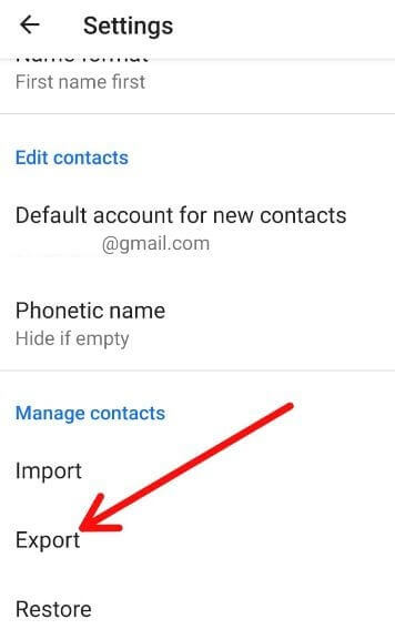 How to export contacts in android 9 Pie