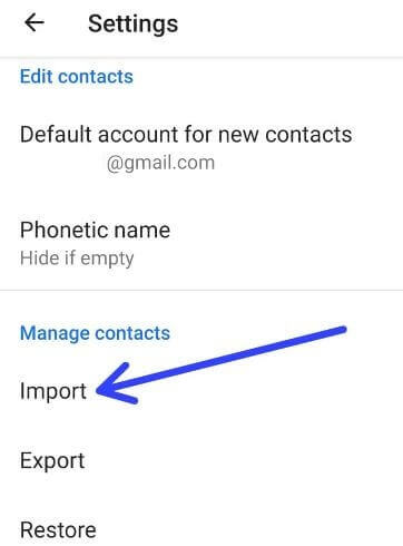 Import contacts from vcf file to android device
