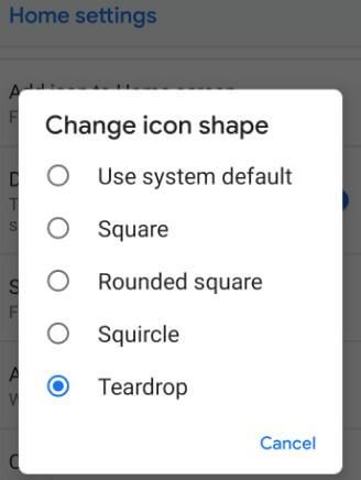 Change icon shape in Pixel 3 XL Pie