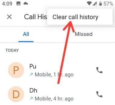 Clear call history Android Pie